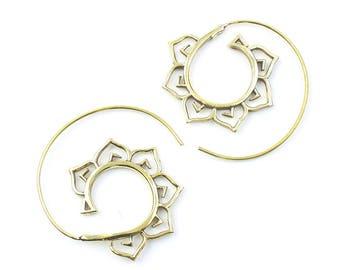 Flower Spiral Earrings, Lotus Earrings, Tribal Brass Earrings, Festival Jewelry, Gypsy Earrings, Ethnic, Yoga Earrings