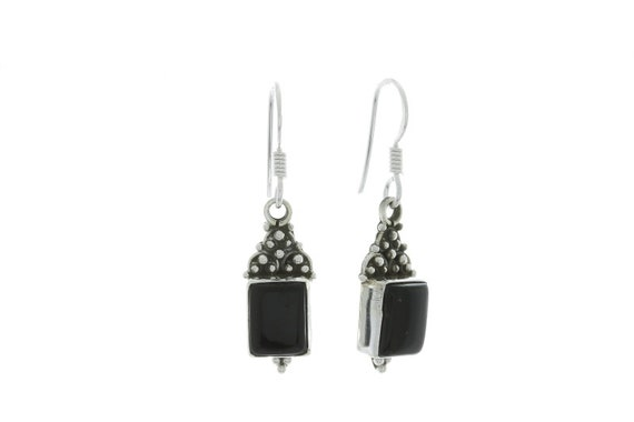 Black Onyx Earrings, Sterling Silver Earrings, Silver Onyx Earrings, Indian Earrings, Ethnic Earrings, Gypsy Earrings