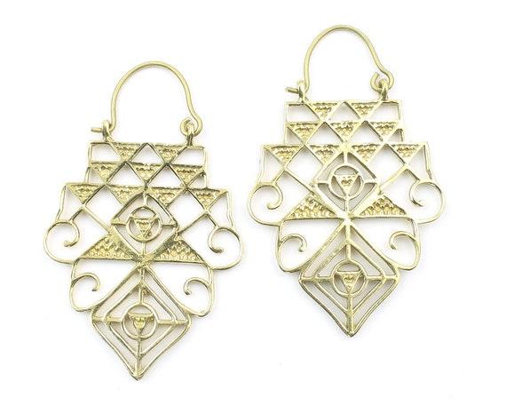 Temple Earrings, Sacred Geometry Earrings, Geometric Triangle Earrings, Alchemy Earrings, Modern Earrings, Festival, Gypsy Earrings, Ethnic,