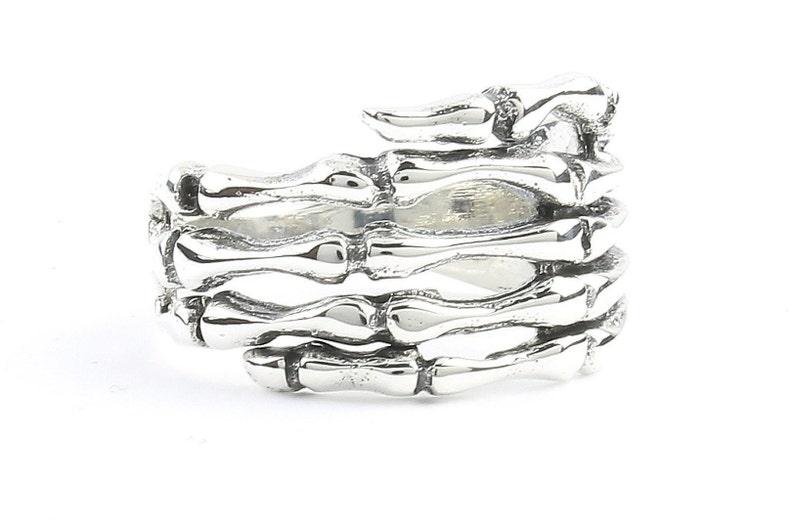 Sterling Silver Skeleton Hand Ring Skull Ring Skeleton Ring image 0