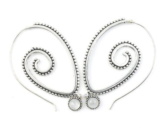 Spiral Moonstone Earrings, Gemstone Jewelry, Large Brass Earrings, Festival Earrings, Gypsy Earrings, Ethnic Earrings