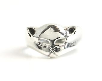 Black Cat Ring, Sterling Silver Cat Ring, 925, Animal Jewelry, Boho, Gypsy, Wicca, Festival Jewelry, Hippie Jewelry, Spiritual