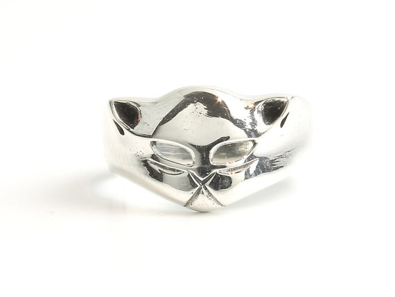 Black Cat Ring, Sterling Silver Cat Ring, 925, Animal Jewelry, Boho, Gypsy, Wicca, Festival Jewelry, Hippie Jewelry, Spiritual