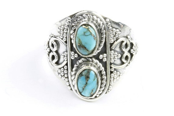 Turquoise Vision Ring, Sterling Silver Turquoise Ring, Stone Jewelry, Gemstone, Southwestern, Boho, Gypsy, Wiccan, Hippie, Spiritual,