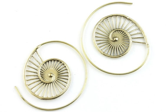 Nautilus Shell Brass Earrings, Tribal Brass Earrings, Spiral Brass Earrings, Festival Earrings, Gypsy Earrings, Ethnic Earrings