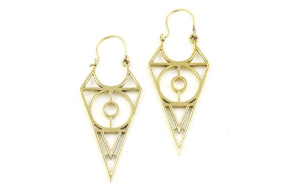 Geometric Brass Earrings, Silver Triangle Earrings, Alchemy Earrings, Minimalist, Modern Earrings, Festival Jewelry, Gypsy Earrings, Ethnic,