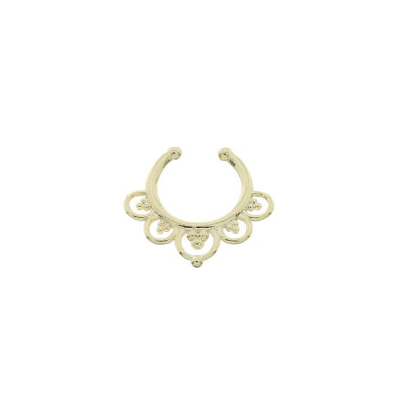 Faux septum ring, Fake septum ring, Faux nose ring, non pierced septum, Wild Lotus Faux Septum Ring