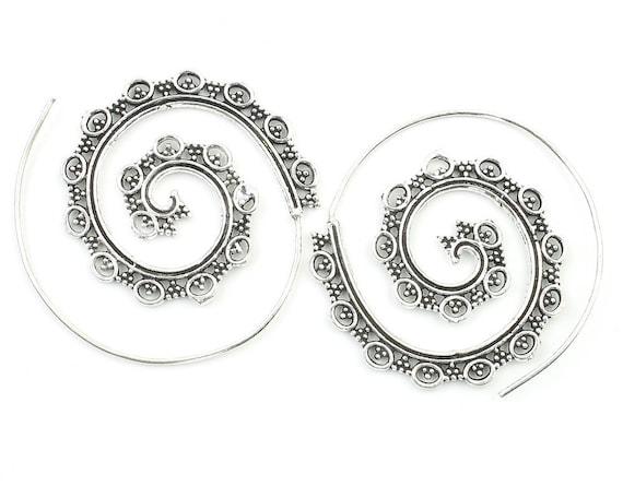 Thebes Earrings, Spiral Earrings, Swirl Earrings, Tribal Earrings, Festival Jewelry, Gypsy Earrings, Ethnic, Yoga