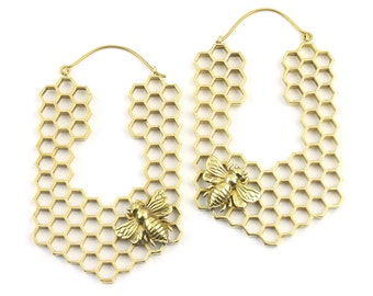Brass Bee Earrings, Bee Hive, Honeycomb Earring, Honey Bee Ring, Bumble Bee, Nature, Bohemian,  Festival, Hippie, Gypsy, Animal