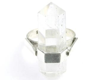 Crystal Flight Ring, Sterling Silver Quartz Ring, Raw Crystals, Stone Jewelry, Gemstone, Boho, Gypsy, Hippie, Wiccan, Spiritual