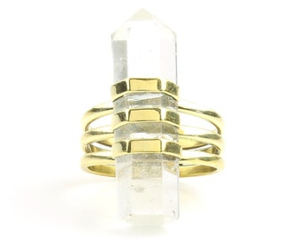 Crystal Ring, Brass Quartz Ring, Raw Crystals, Stone Jewelry, Gemstone, Boho, Gypsy, Hippie Jewelry, Wiccan, Spiritual