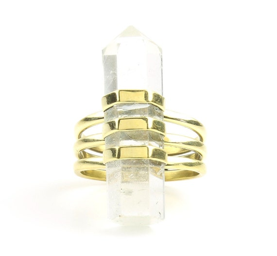 Crystal Ring, Brass Quartz Ring, Raw Crystals, Stone Jewelry, Gemstone, Boho, Gypsy, Hippie Jewelry, Wiccan, Spiritual