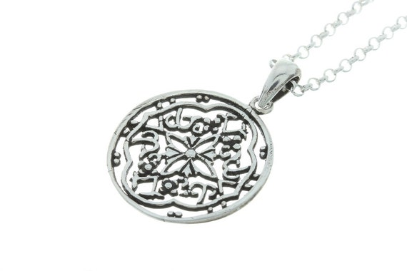 Mandala Silver Sun necklace, Henna necklace, Filigree Sterling Silver necklace