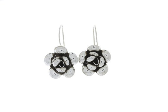 Midnight Rose Earrings, Sterling silver Rose Earrings, Flower Earrings