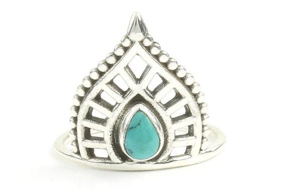 Turquoise paisley Ring, Sterling Silver Turquoise Ring, Stone Jewelry, Gemstone, Southwestern, Boho, Gypsy, Ethnic, Hippie, Spiritual