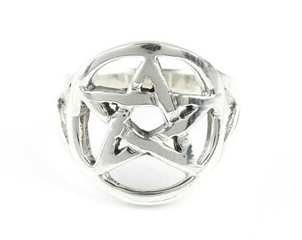 Pentacle Ring, Sterling Silver Pentagram Ring, 925, Star Ring, Boho, Gypsy, Wicca, Wiccan, Festival Jewelry, Spiritual