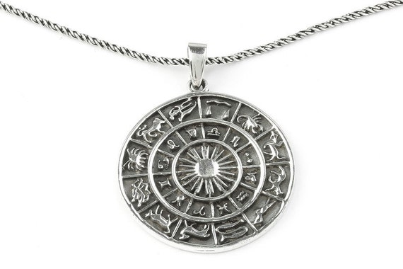 Sterling Silver Zodiac Wheel Necklace, Astrology necklace, Star, Cosmic, Hippie, Boho