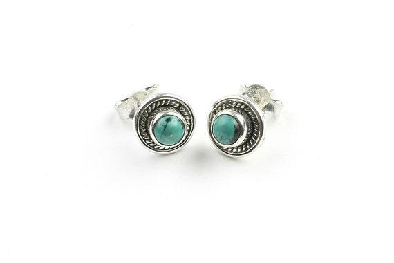 Turquoise Earth Earrings, Sterling Silver Turquoise Earrings, Ethnic Earrings, BOHO