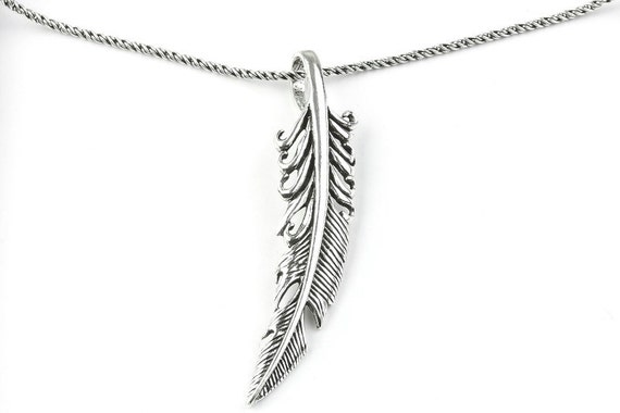 Sterling Silver Feather Necklace, Western necklace, Free Spirit, Festival, Hippie, Boho