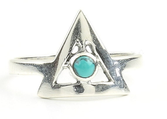 Triangle Turquoise Ring, Sterling Silver Turquoise Ring, Stone Jewelry, Gemstone, Southwestern, Boho, Gypsy, Minimalist, geometric, Modern