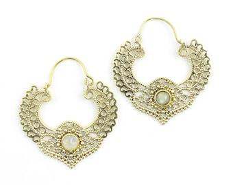 Bodrum Moonstone Earrings, Moonstone Mandalas , Gemstone Jewelry, Mehndi Brass Earrings, Festival Earrings, Gypsy Earrings, Ethnic Earrings