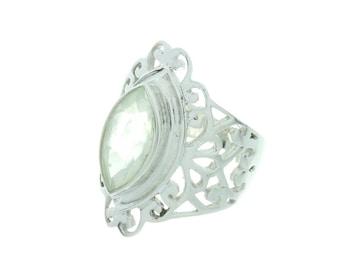 Western Gem Ring, Prehnite Sterling Silver Ring,  Gemstone Ring, Facet Cut, Prehnite Jewelry, Prehnite Stone Ring