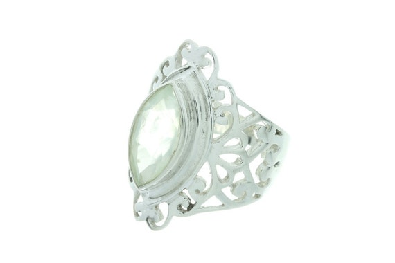 Western Gem Ring, Prehnite Sterling Silver Ring,  Gemstone Ring, Facet Cut, Prehnite Jewelry, Prehnite Stone Ring