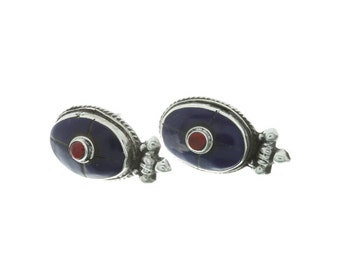 Stering Silver Lapis Earrings, Lapis and Coral Earrings, Ethnic Earrings, Silver Stud Earrings