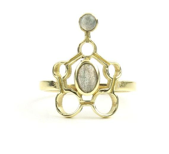 Karnataka Ring, Brass Labradorite Ring , Meditation, Yoga Jewelry, Tribal, Ethnic Ring, Gypsy, Hippie Jewelry, Festival Jewelry, Boho