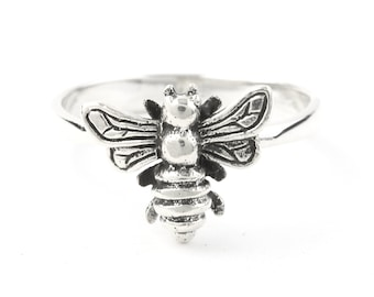 Sterling Silver Bee Ring, Bee Hive, Honeycomb Ring, Honey Bee Ring, Bumble Bee, Nature, Boho, Bohemian, Festival, Hippie, Gypsy, Animal