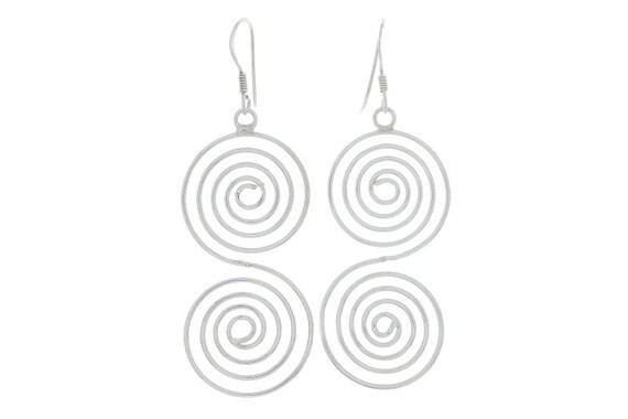 Spiral Haze Earrings, Sterling silver Earrings, Silver Spiral Earrings