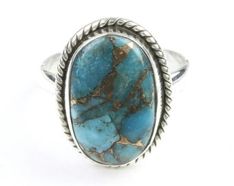 Turquoise Essential Ring, Sterling Silver Turquoise Ring, Stone Jewelry, Gemstone, Southwestern, Boho, Gypsy, Copper Turquoise, Festival