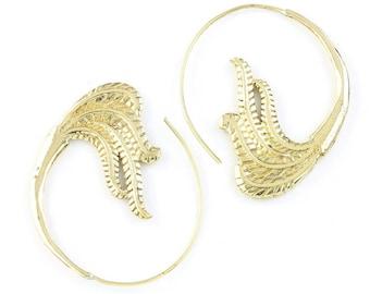 Brass Vagabond Earrings, Tribal Brass Earrings, Spiral Brass Earrings, Festival Earrings, Gypsy Earrings, Ethnic Earrings