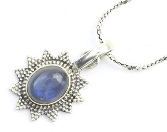 Labradorite Sun Sterling Silver Necklace, Labradorite Jewelry, Gemstone, Meditation, Spiritual, Boho, Gypsy, Festival