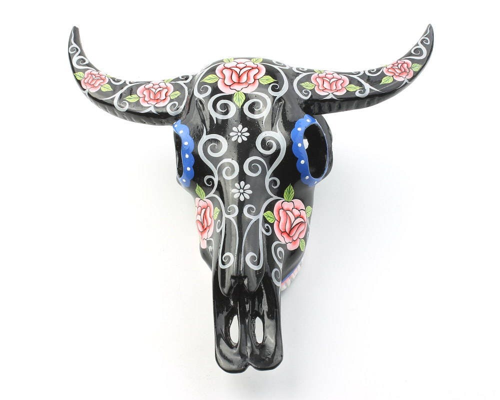 Black Bull Skull Decor Hand Painted Skull Rose Skull