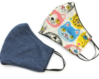 Cat Face Mask, 2 PACK, washable face mask, reusable face mask, cotton fabric mask, cloth, comfortable fit, 2 layer, USA shipping next day