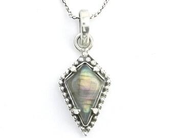 Lover's Coffin Sterling Silver Necklace, Labradorite Jewelry, Gemstone, Meditation, Spiritual, Boho, Gypsy, Festival