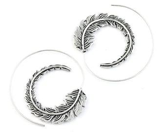 Feather Spiral Earrings, Spiritual, Western Earrings, Festival Jewelry, Gypsy Earrings, Ethnic, Indian