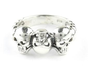 Triple Skull Ring, Sterling Silver Ring, 925, Skeleton Ring, Biker, Boho, Gypsy, Wiccan, Festival Jewelry, Spiritual