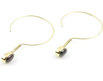 Brass Garnet Earrings, Hoop Earrings, Minimal Earrings, Modern, Unique Earrings, Festival Earrings, Gypsy Earrings