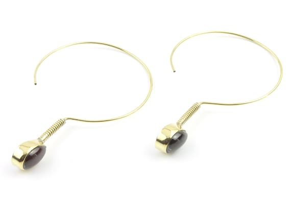 Brass Garnet Earrings, Hoop Earrings, Minimal Earrings, Modern, Unique Earrings, Festival Earrings, Gypsy Earrings