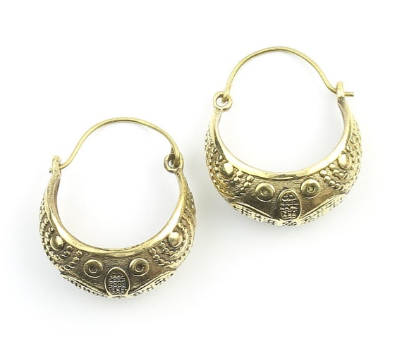 Jhelum Earrings, Ornate Ethnic Hoop Earrings, Tribal Brass Earrings, Festival Earrings, Gypsy Earrings, Hoop Earrings