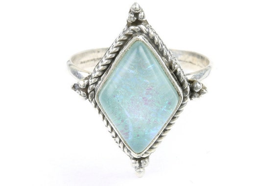 Heaven Snow Opal Ring, Sterling Silver Opal Ring, Stone Jewelry, Gemstone, Boho, Gypsy, Wiccan, Hippie, Spiritual, Modern