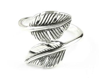 Feather Freedom Ring, Leaf, Sterling Silver Ring, 925, Boho, Gypsy, Festival Jewelry, Hippie Jewelry, Southwestern, Spiritual