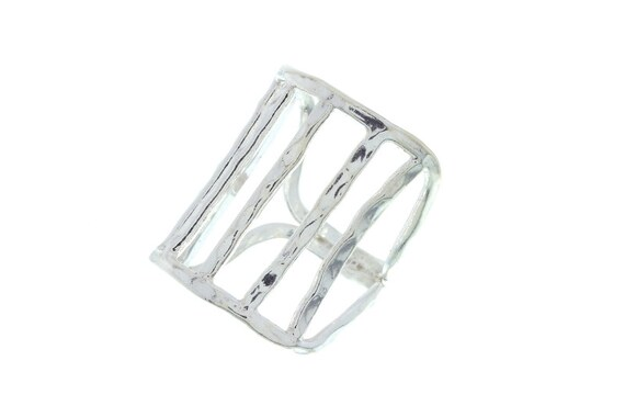 Sterling Silver Minimalist Ring, Industrial Ring, Rectangle Ring, Urban Ring