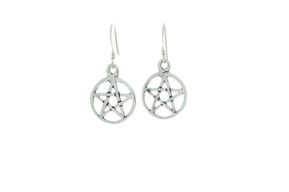 Sterling Silver Pentagram Earrings, Silver Pentacle Earrings, Sterling Earrings