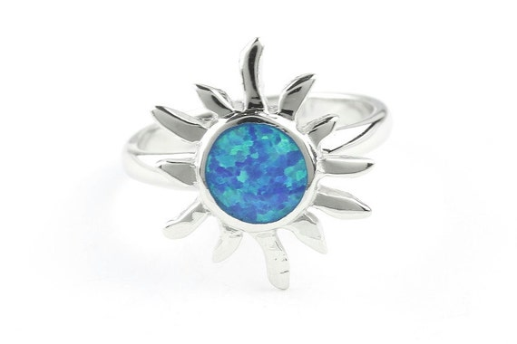 Solar Opal Ring, Sterling Silver Sun Ring, 925, Lab Opal, Blue Opal, Boho Ring, Gypsy, Festival Jewelry, Gemstone Rings