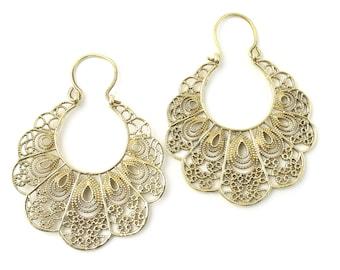 Amasya Earrings, Brass Hoop Earrings, Mandala Earrings, Tribal Earrings, Festival Jewelry, Gypsy Earrings, Ethnic, Yoga