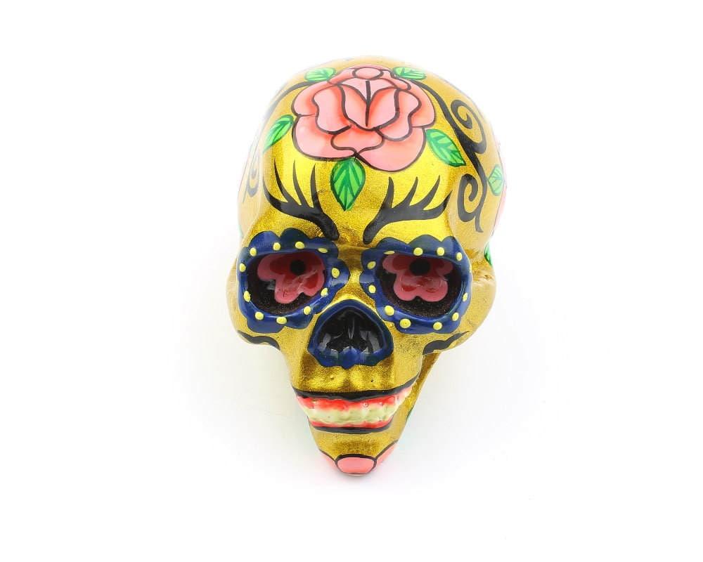 Small Sugar Skull Decor, Hand Painted Skull, Mexican Sugar