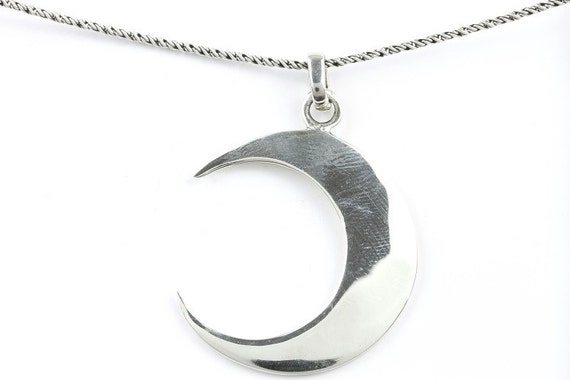 Waning Luna Necklace, Sterling Silver Moon Necklace, Crescent Moon necklace, Meditation, Spiritual, Festival, Hippie, Boho, Wiccan, Cosmic